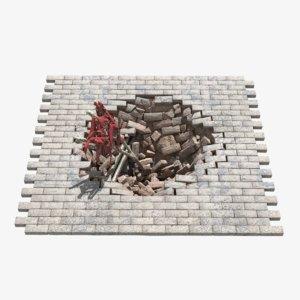 3D brick hole
