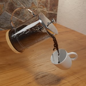 coffee plunger french press 3D