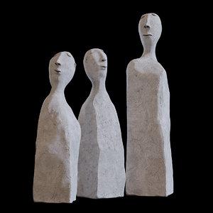 3D sculpture human cement -