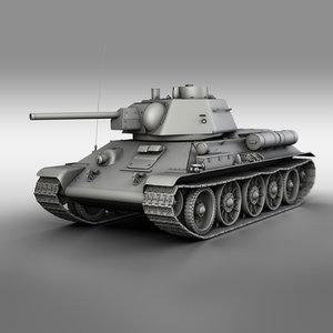 3D t-34-76 1943 - soviet tank model