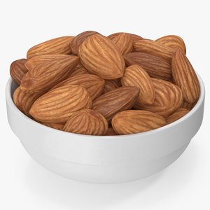 almonds white bowl 3D model