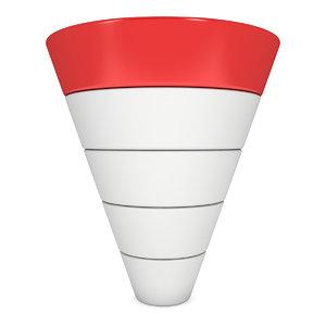 marketing funnel sales diagram 3D model