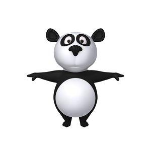 panda cartoon 3D model