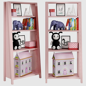3D kids bookshelf set 05 model