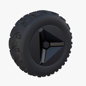 3D tesla cyberquad atv wheel model