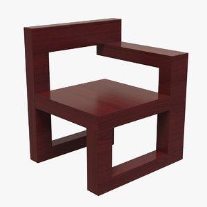 wooden chair tetris design 3D model
