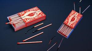 realistic matchbox matches set 3D model