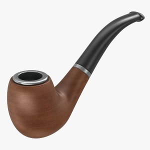 3D realistic wooden smoking pipe