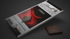 lindt excellence chili chocolate bar 3D model