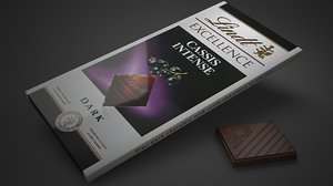 lindt excellence cassis chocolate bar 3D model