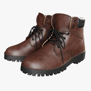 dark brown leather boots model