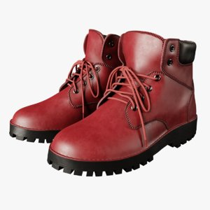 red leather boots 3D model