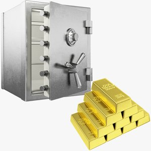 golden safe gold 3D model