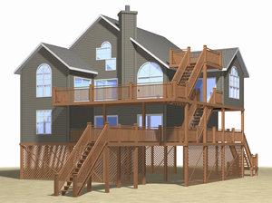beach house architectural 3d model