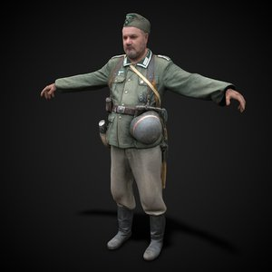 3D model ready wehrmacht soldier rigging animation
