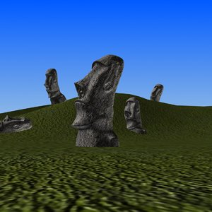 3D easter island statues model