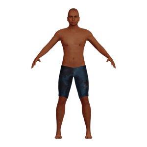 adult man swimsuit character 3D model