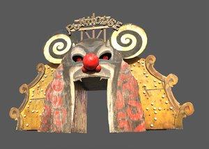 3D model old funhouse entrance