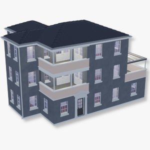 3D story apartment building mansion model