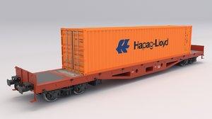 flat rail car hapag 3D model