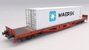 flat rail car maersk 3D model