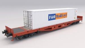 flat rail car container 3D model