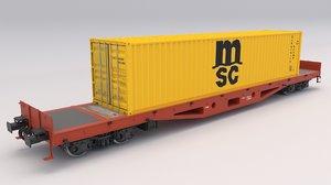 flat rail car msc 3D