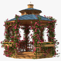 Gazebo Covered with Pink Rose