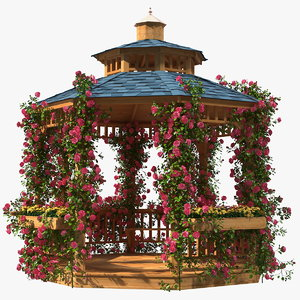 3D gazebo covered pink rose flower model