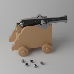 3D cartoon toy cannon model