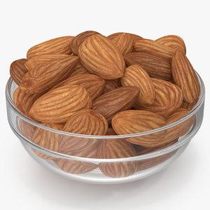 3D almonds glass bowl