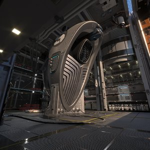 interplanetary starship parked hangar 3D model