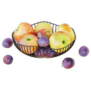 3D apples plums metal vase