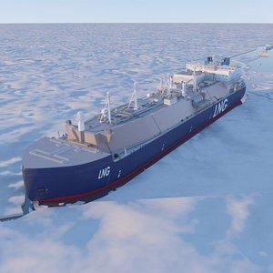 3D lng tanker icebreaking model