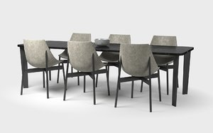 3D model 6 seat dining table