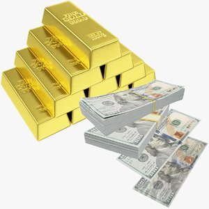 3D dollars banknotes bills money