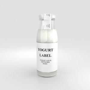 bottle yogurt 3D