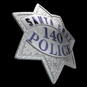 3D police badge santa cruz model
