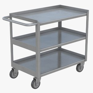 3D model realistic 3 shelf utility