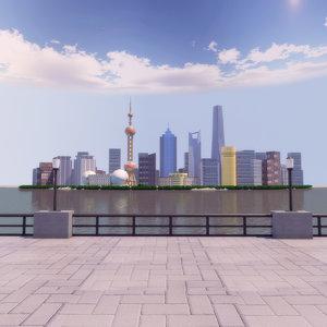 shanghai bund 3D