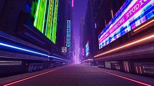 sci-fi neon city buildings 3D model