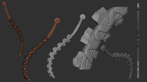 3D weapon aztec macahuitl