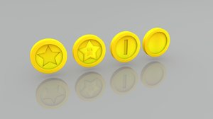 3D coins star blank