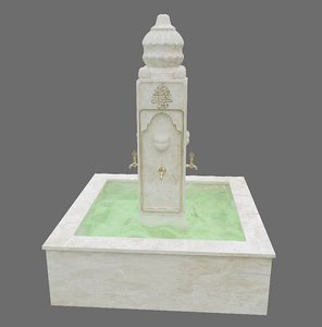 3D medieval water fountain model