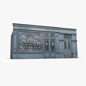 paris storefront facade pharmacy model