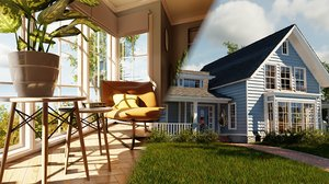 3D house classic style porch model