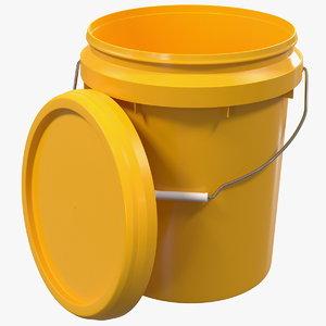 plastic bucket 20l lid 3D