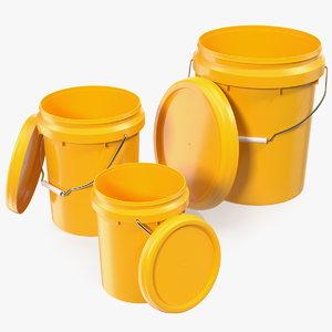 3D plastic buckets lid handle model