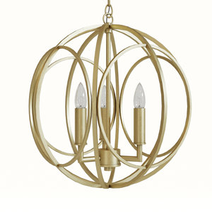 3D steel loughton 3-light chandelier
