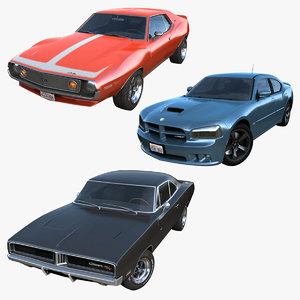 3D muscle cars pbr vehicles